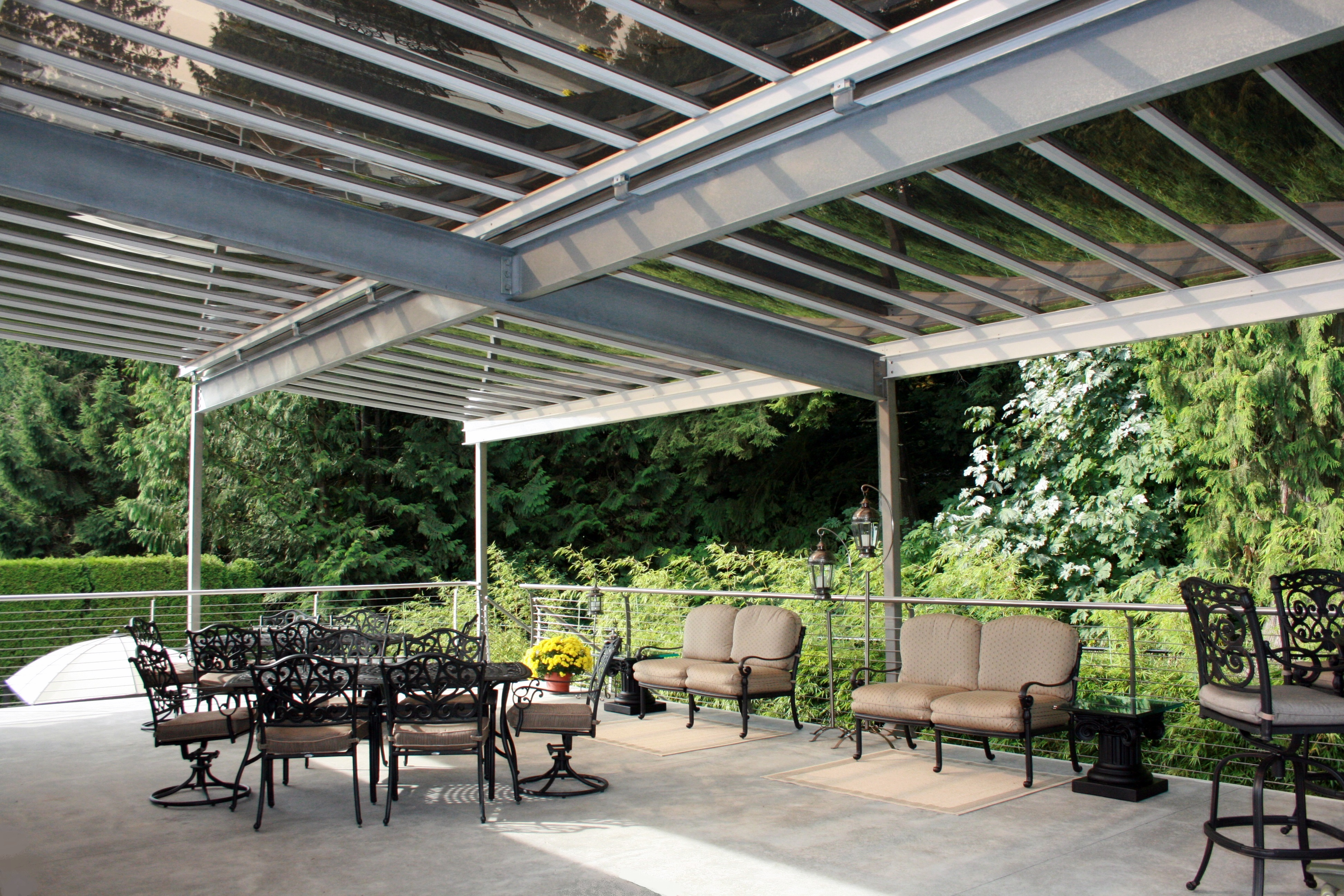 galvanized steel pergola with stainless steel uprights s t i steeltec industries ltd. Black Bedroom Furniture Sets. Home Design Ideas