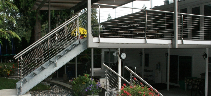 Stainless Steel Patio Railing With Galvanized Stairs